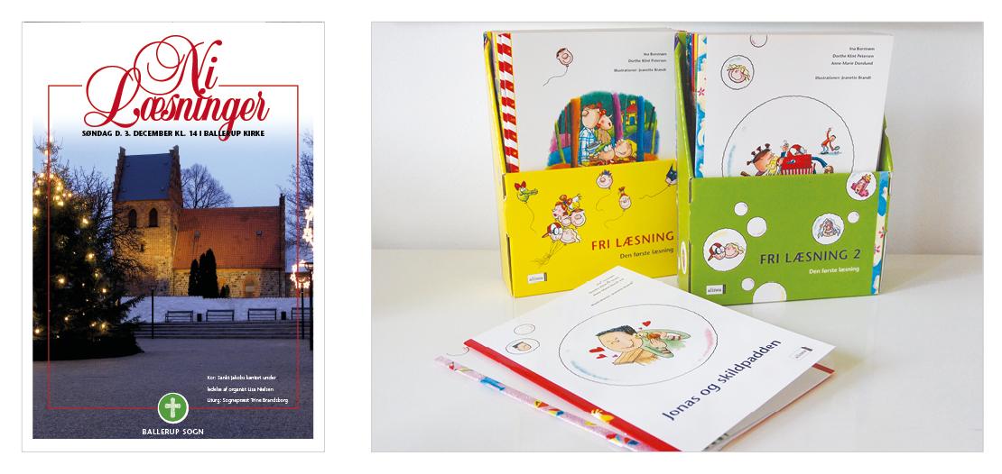 Fri læsning Isby, Ida og Emil. Layout af frilæsningsbøger og tilhørende samleboks